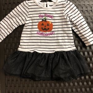 My first Halloween shirt with sparkled tulle.